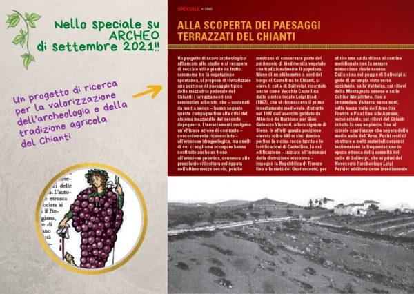 Su Archeo di settembre 2021 il progetto di Archeologia della vite e del vino su Salivolpi a Castellina in Chianti